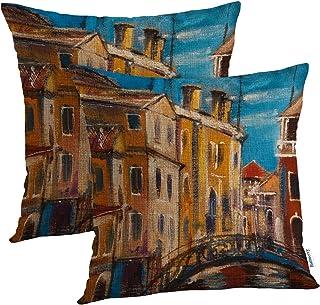 Batmerry Art Italy Landscape Nature Decorative Pillow Covers 18x18 Inch Set of 2, Fine Art Landscape Italy Room Decor Couc...
