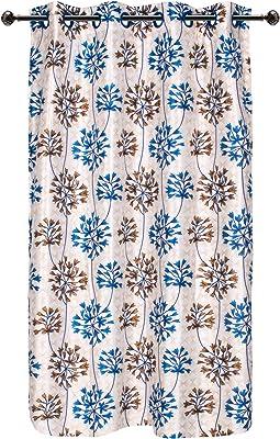 Bedspun Nature Collection Printed 2 PCs Polyetser Eyelet Ringtop Printed Window Curtains, Blue & Brown - 5 feet
