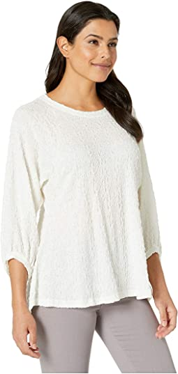 Jacquard Peasant Sleeve High-Low Top