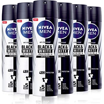 NIVEA MEN Black & White Invisible Original Spray en pack de 6 (6 x ...