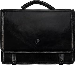 Maxwell Scott® Elegante Maletín negro en piel Italiana con correa extendible (Battista)
