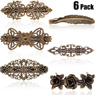 6 Pieces Vintage Hair Barrettes Retro French Hair Pins Clasp Metal Bronze Roses Feather Hair Clips For Women Girl