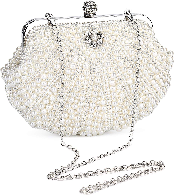 UBORSE Bolso de Fiesta Pequeña Elegante Bolsa de Noche Perlas Mujer Bolso de Boda Clutch Monedero del Banquete Cocktail con 3 Correas de Cadena extraíbles,Blanco