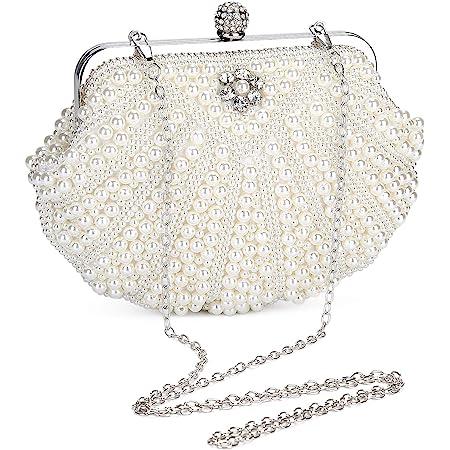 UBORSE Damen Abendtasche Weiß Clutch Perlen Handtasche Kleine Elegant Umhängetasche Mini Kette Tasche Weiß Vintage Schultertasche Clutch Hochzeit Party Disko