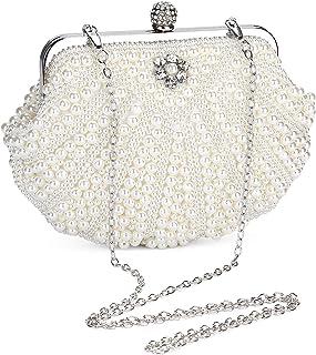 UBORSE Damen Abendtasche Weiß Clutch Perlen Handtasche Kleine Elegant Umhängetasche Mini Kette Tasche Weiß Vintage Schulte...