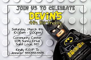 The Melange Market Custom Birthday Party Invitation - Legos, Batman, Personalized
