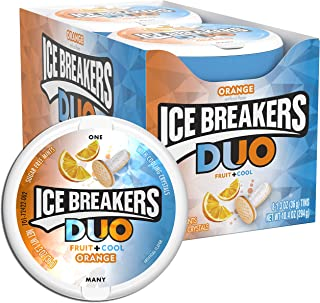 ICE BREAKERS Duo Sugar Free Mints, Orange, 1.3 Ounce (Pack of 8)