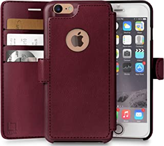 LUPA iPhone 8 Wallet Case, Durable and Slim, Lightweight with Classic Design & Ultra-Strong Magnetic Closure, Faux Leather, Burgundy, Apple 8 (2017)