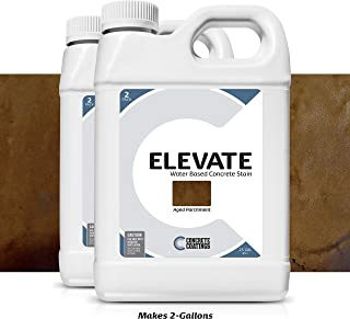 Elevate Water Based Concrete Stain, Semi-Transparent Concentrate Organic Concrete Colorant, for Concrete and Cement, Makes 2 Gallons (400 sq ft) Aged Parchment (Pack of 2)