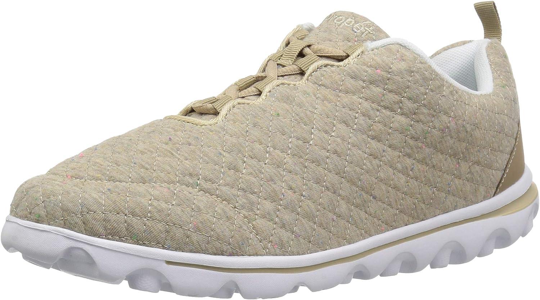 Propet Women's TravelActiv Woven Sneaker, Beige Quilt, 8H Narrow US