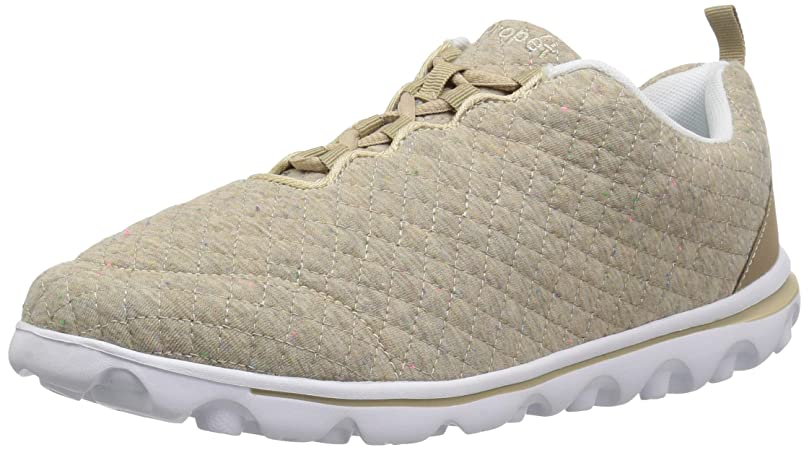 哲学責任付属品[Propet] Women's Travel Active Woven Beige Quilt Ankle-High Walking Shoe - 10W