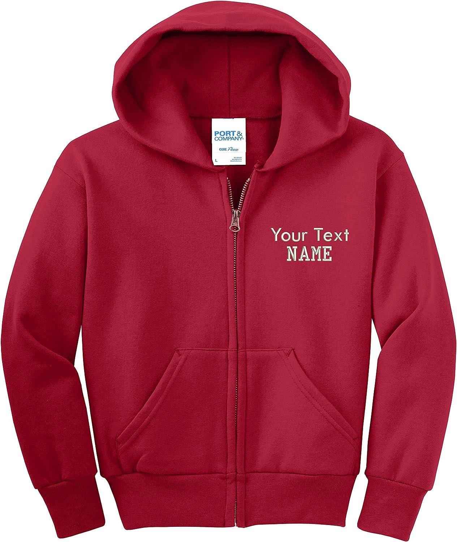 INK STITCH Youth Custom Text Stitching Core Fleece Full-Zip Hooded Sweatshirts - Multi Colors