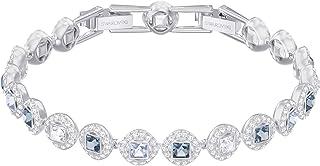 Swarovski braccialetto angelic square, azzurro, placcatura rodio