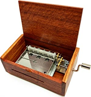 Wingostore 30 Notes Hand Crank Music Box Movement with Copper Gear DIY Make Your Music Tool Kit (with Burma padauk Box1)