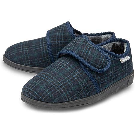 Dunlop Mens Slippers Easy Close Diabetic Orthopaedic Comfy Memory Foam Size 7-12