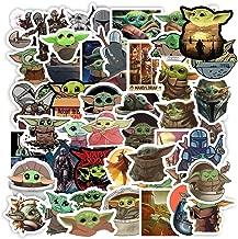 Baby Yoda Merchandise Stickers[50pcs]The Mandalorian Star Wars Decal for Laptop Phone Case Hydro Flask Water Bottle Tumbler Car Cup Computer Guitar Wall Helmet Skateboard Luggage Bike Bumper, kid gift