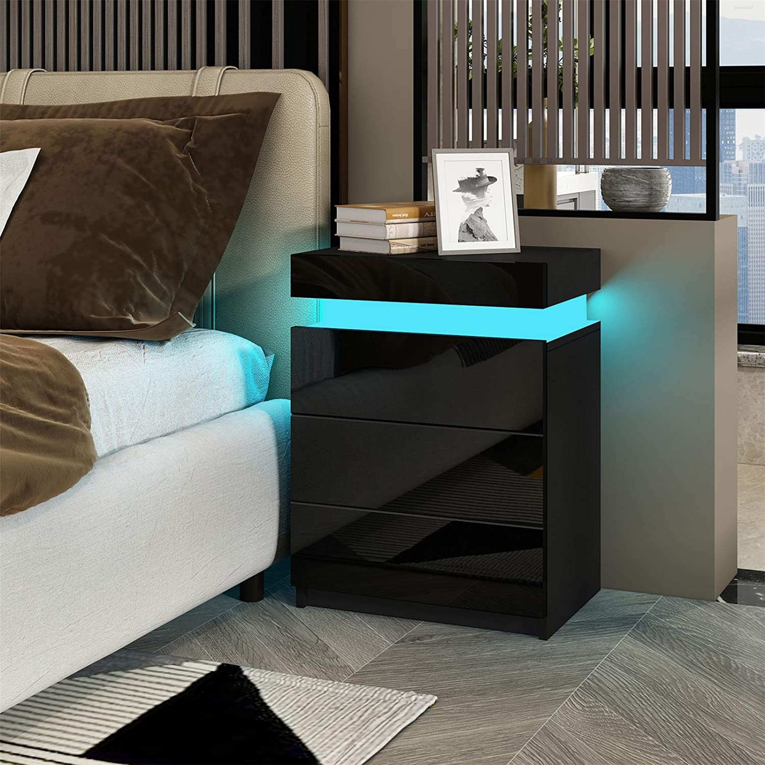 High Gloss Modern Bedside Table Nightstand Storage Cabinet 3 Drawers with LED Light for Bedroom Living Room Senvoziii White Bedside Table