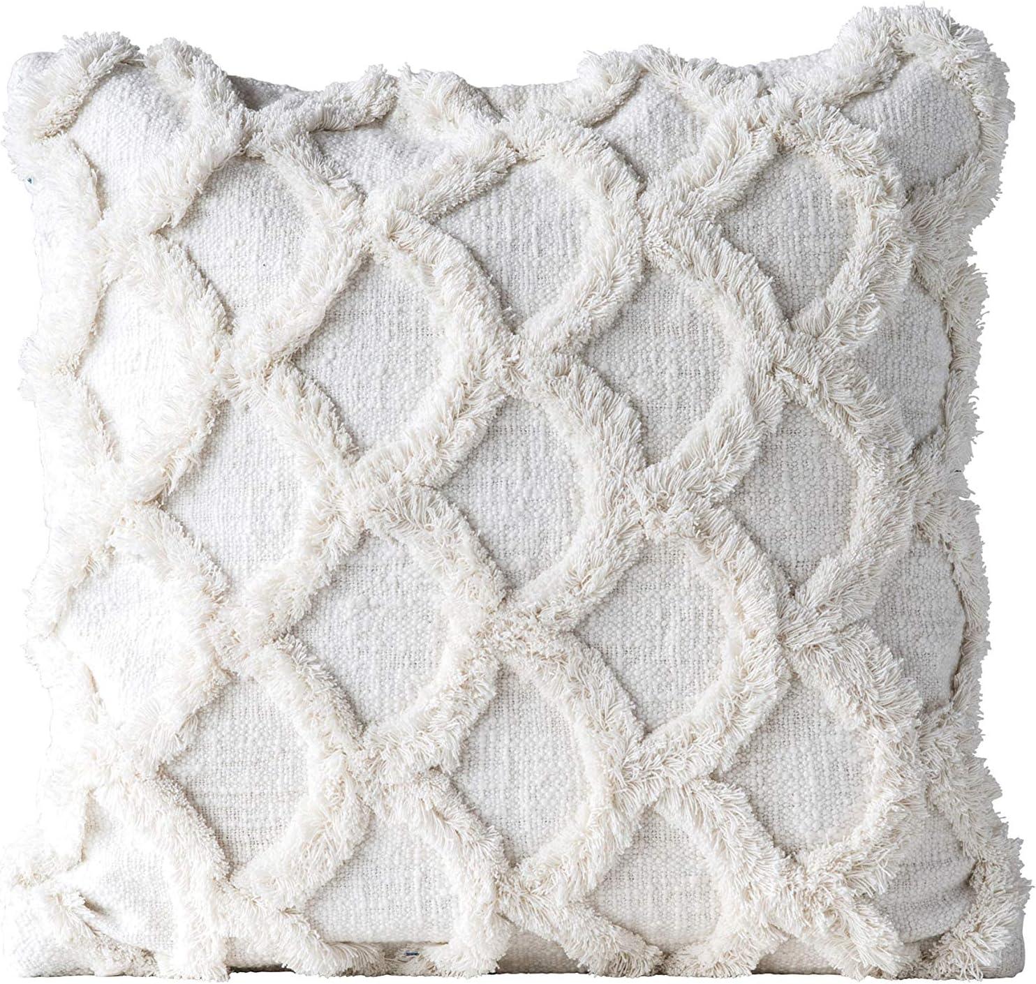 Creative Popular Co-Op Square Cotton White Scalloped Pillow Max 61% OFF Chenille