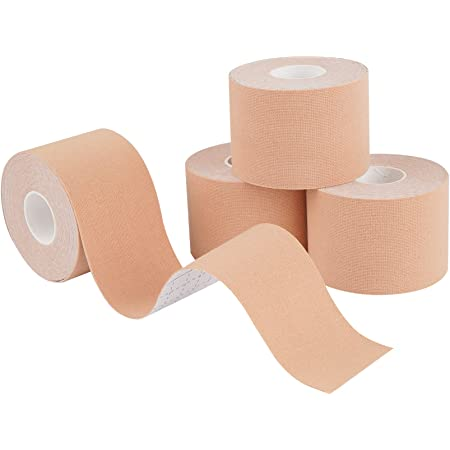 Kinesiology Tape 4 Rolls K Sports Tape for Knee Support and Muscle Pain Relief, Uncut Physio Tape Elastic Therapeutic Designed for Athletes Injury Recovery (Beige)