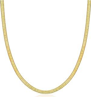بارزل 18 قيراط مطلية بالذهب سلسلة متعرجة عرض 4 مم