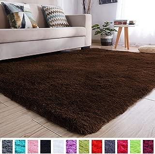 PAGISOFE Soft Comfy Rugs for Living Room Bedroom Area Indoor Modern Fluffy Rugs Decor Plush Velet Home Decorative Carpet Dining Room Nursery Floor Shag Rug 4x5 ft (Chocolate Brown)