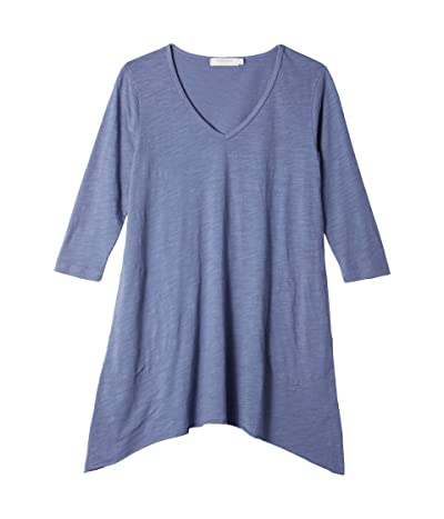 Mod-o-doc Slub Jersey 3/4 Sleeve V-Neck Tunic with Pockets (Indigo Ink) Women