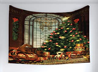 Ambesonne Christmas Tapestry, Vintage Ambiance Big Old Fashioned Window Xmas Tree Various Presents, Fabric Wall Hanging Decor for Bedroom Living Room Dorm, 60