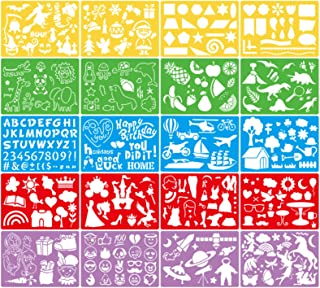 MOCOBO ステンシル 子供 製図用 テンプレート ステンシルシート DIYアルバム 絵図 手帳用 20枚セット