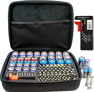 Large Battery Organizer Storage Case with Digital Battery Tester Checker, 200+ C D 9V AA AAA AAAA Batteries Organization B...