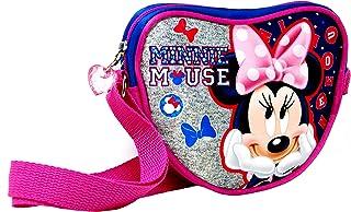 Minnie Mouse - glänzende Herz Kindertasche/Umhängetasche gefüttert mit Reißverschluß (18 x 15 x 5.5 cm) - super süße Disne...