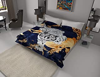 White Tiger Blanket I Korean style Mink Ultra Silky Soft Reversible Bed comforter bedspread bedding Cobias I Heavy thick weight I Perfect for Winter and Warm for all season throw(Queen, 71 Tiger Blue)