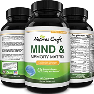Enhance Brain Memory, Boost Focus, Improve Clarity Mind Booster Supplement for Men and Women Contains Vitamins and Pure He...