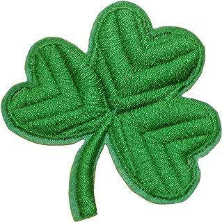 CLOVER Iron On Patch Fabric Applique St Patrick Motif Irish Shamrock Ireland Symbol Sign Decal 3 x 3 inches (7.5 x 7.5 cm)