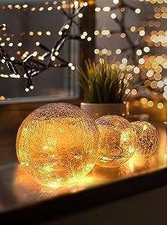 LED Glaskugel 3er Set - Exklusive Größe, Warmweiß, inkl. Timer und Kratzschutz - 10, 12 und 15cm LED Kugeln batteriebetrie...