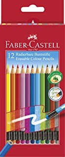 Faber-Castell 116612 Crayons de couleur gommables, étui de 12
