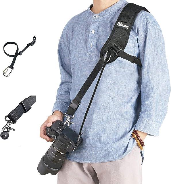 WITHLIN alargadas Profesional Set fotografía - ampliada Bandolera con Cadena de Seguridad para cámaras SLR réflex Digital (Canon Nikon Sony Olympus Pentax etc) …