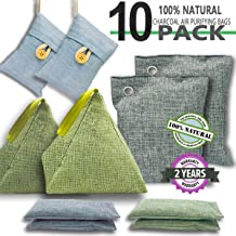 Super Air DTXDTech Bamboo Charcoal Bags 10 Pack (2X300g 2X200g 2X100g 4X50g) Activated Bamboo Charcoal Natural Eco Friendly for Home, Car,Closet,Shoes
