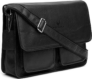 WildHorn Urban Edge100% Leather Laptop Messenger Black Men's Bag (Black)