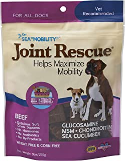 Ark Naturals Sea Mobility Joint Rescue Chews, Increase Flexibility, Mobility and Joint Comfort, Vet Recommended for All Dog Breeds, 500 mg Glucosamine, 9 oz. Bag