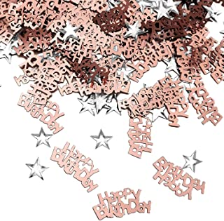 iZoeL Table Confetti Bag 30g incl. Happy Birthday Confetti (240pcs) Silver Star Confetti Sequin(350pcs) for Boys Girls Birthday Party Decoration (Rose Gold)