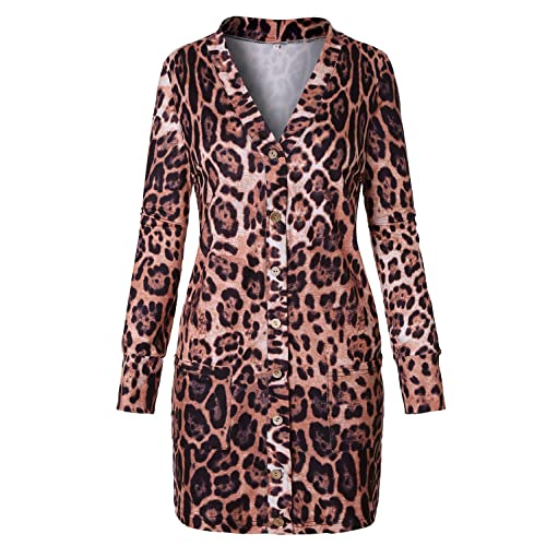 ec08af5f6 Viracy Women's Long Sleeve Open Front Leopard Cardigan with Pockets