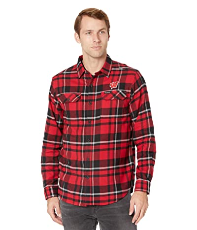 Columbia College Wisconsin Badgers Flare Gun Flannel Long Sleeve Shirt (Intense Red Plaid) Men