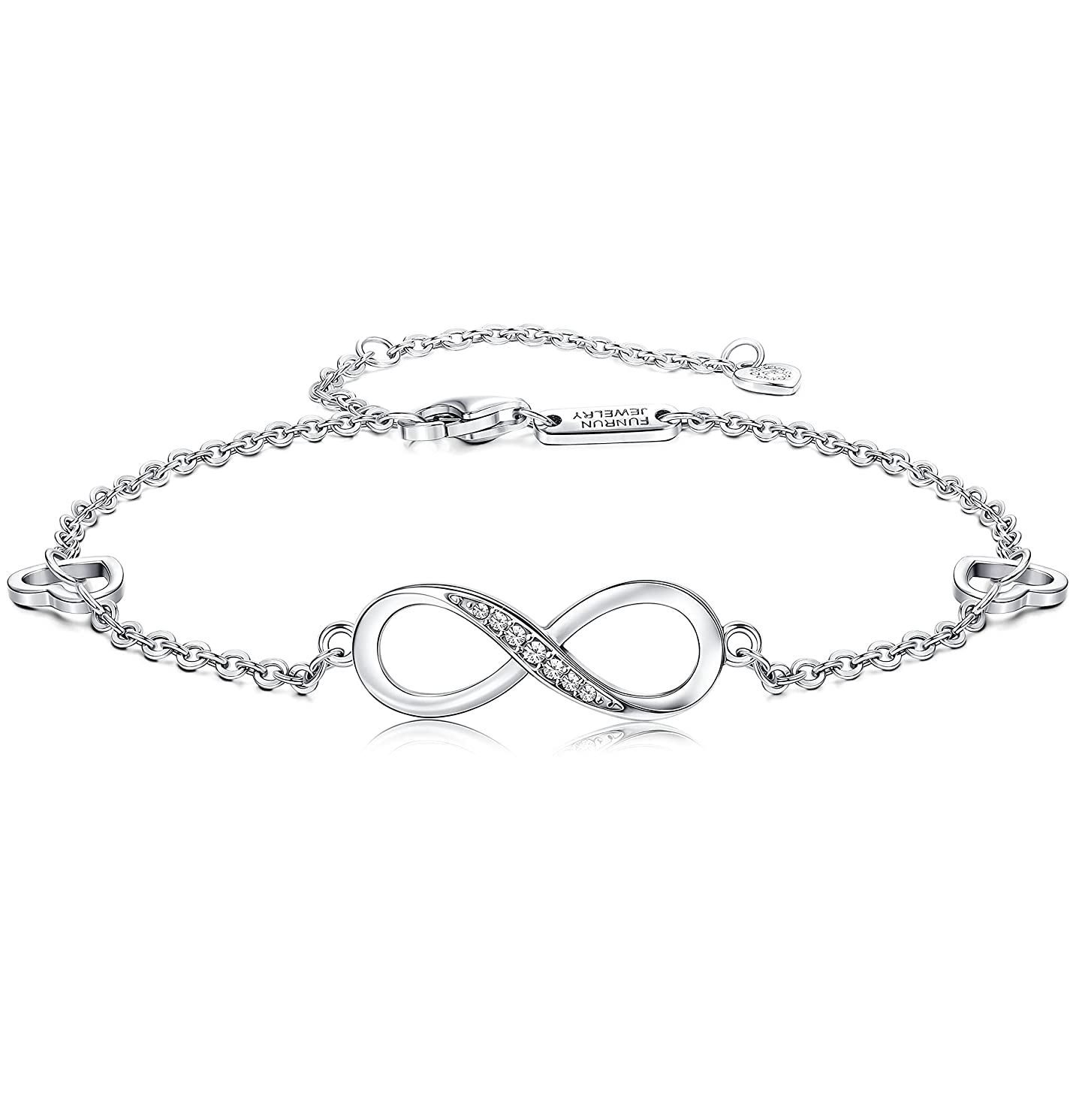 FUNRUN JEWELRY 925 Sterling Silver Infinity Bracelets and Anklet Bracelets for Women Girls 4-Level Adjustable Length Gift for Mother?ˉs Day