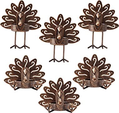 FORUP 6 Pack Metal Turkey Tea Light Candle Holders, Thanksgiving Candle Holder, Thanksgiving Decoration for Home, Turkey Cand