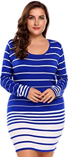 IN'VOLAND Plus Size Women's Round Neck Striped Sweater Dress Slim Fit Knitted Pullover