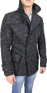 Mat Sartoriale Cappotto Uomo Casual Nero Invernale Doppiopetto Giacca Cardigan Slim Fit