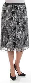 100 Womens New 1087 Black Floral Accordion Pleat Skirt M B+B