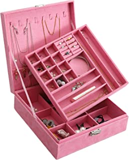DerBlue Jewelry Case Jewelry Box for Women Two-Layer Lint Jewelry Organizer with Lock -36 Compartments and Removable Partition for Earrings Bracelets Rings Watches Case