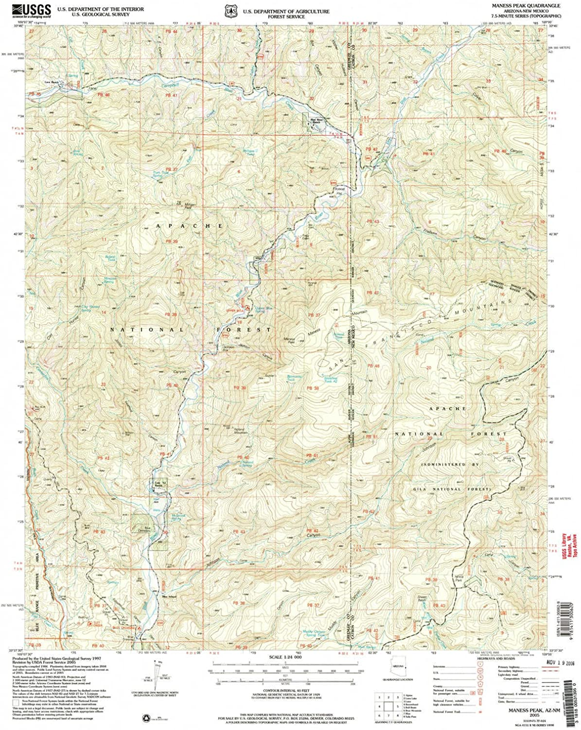 Maness Peak AZ topo map, 1 24000 Scale, 7.5 X 7.5 Minute, Historical, 2005, Updated 2006, 26.9 x 22 in
