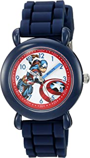 MARVEL Boys' Captain America Analog-Quartz Watch with Silicone Strap, Blue, 16 (Model: WMA000028